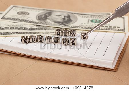 New Business Background. Dollars, Coins And Notes.