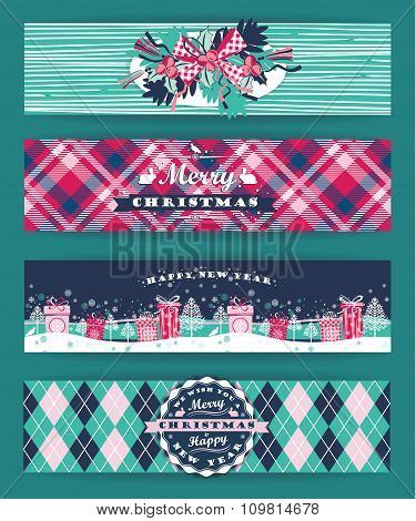 Christmas And New Year Set. Plaid Backgrounds.