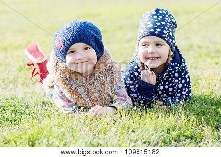 Happy Two Little Girls
