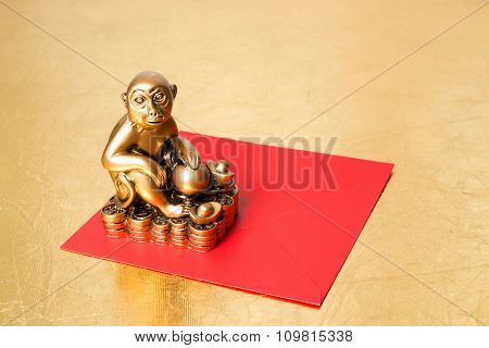 Monkey The Symbol Of The New Year 2016 , And Red Envelope