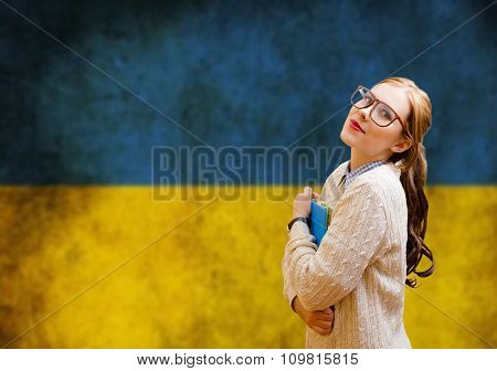Young pretty woman student learning Ukrainian