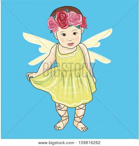 vector beautiful little girl with fairy wings and a wreath of flowers on her head