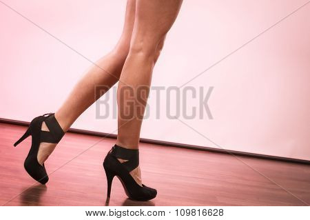 Fashionable Girl In Black High Heels