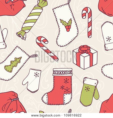 Christmas holiday decoration seamless pattern. Frosty decorative background