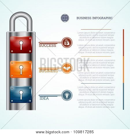 Template Padlock With Three Keyholes And Keys
