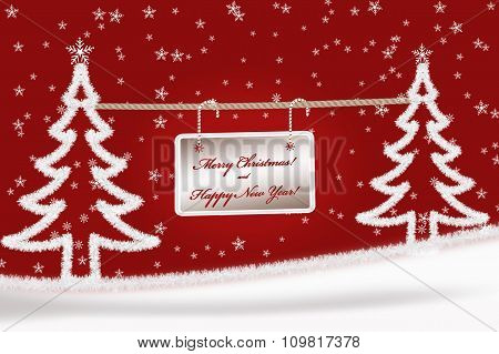 Christmas Greeting Card Background With Fir Trees