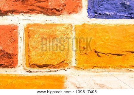 Multicolored Stone Wall Background - Hand Painted Construction Material Pattern And Texture