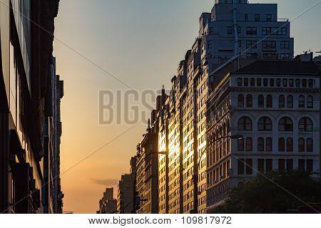 Manhattanhenge Sunset In New York City
