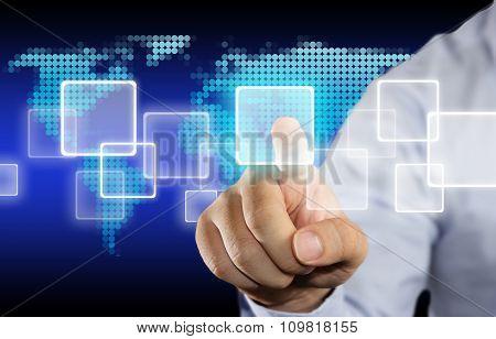 Clicking Touchscreen Internet Concept