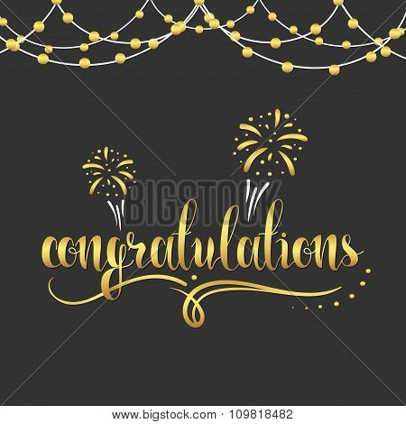 Inscription Congratulations in gold color, garland