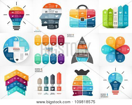 Creative vector arrows infographics, diagrams, graphs, charts for presentation. 3, 4, 5, 6, 7, 8 opt