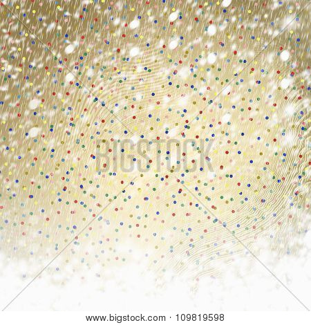Abstract Gold Paper Background With Multicolored Confetti