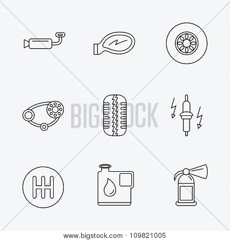 Wheel, car mirror and timing belt icons.