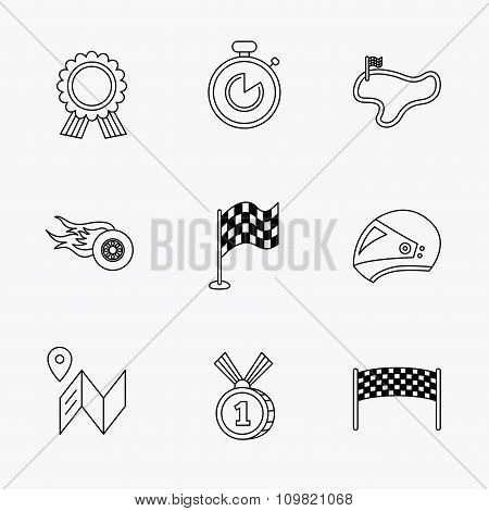Race flag and speed icons. Winner medal signs.
