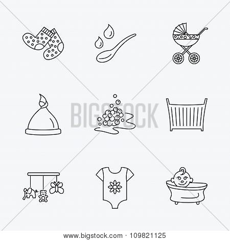 Baby clothes, bath and hat icons. Pram carriage.