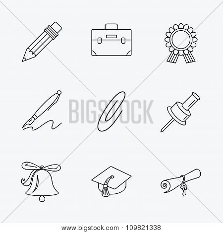 Graduation cap, pencil and diploma icons.