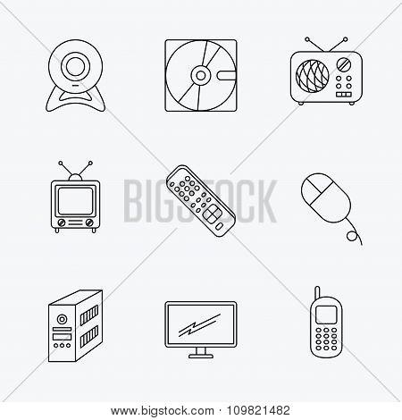 Web camera, radio and mobile phone icons.