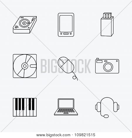 Tablet PC, USB flash and notebook laptop icons.