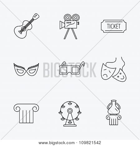 Museum, guitar music and theater masks icons.