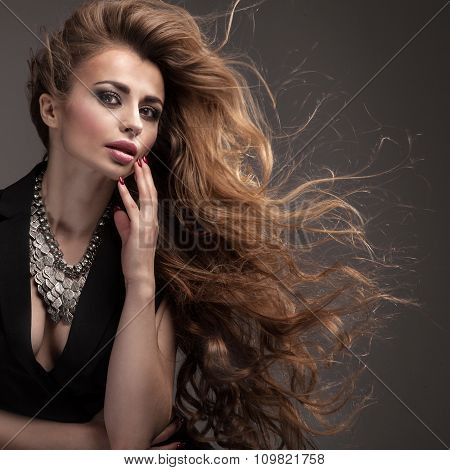 Girl With Long Hair And Glamour Makeup.