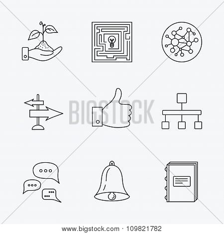 Global network, like and conversation icons.