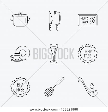 Kitchen knives, glass and pan icons.