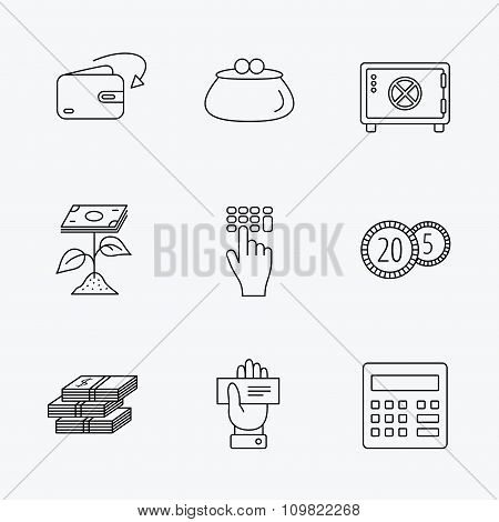 Cash money, safe box and calculator icons.