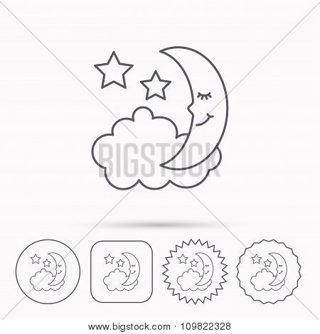 Night or sleep icon. Moon and stars sign.