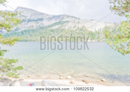 Defocused Background Of Valley And Lake At Yosemite National Park