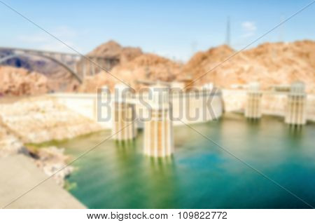 Defocused Background Of Hoover Dam And Colorado River