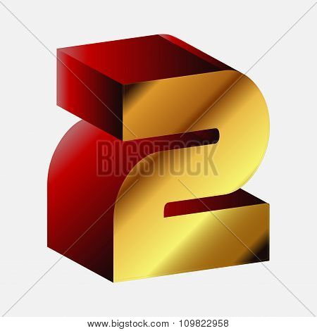 3d Glossy Two 2 Vector