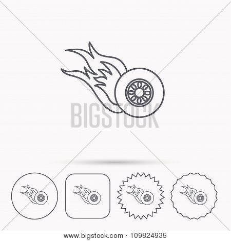 Burning wheel icon. Speed or Race sign.