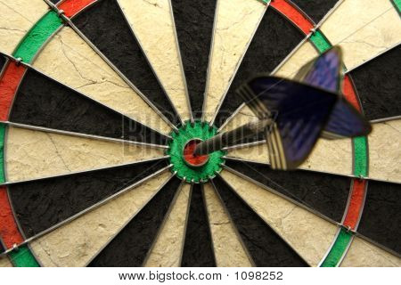 Success Shot! Darts Photo With Arrow In Bullseye