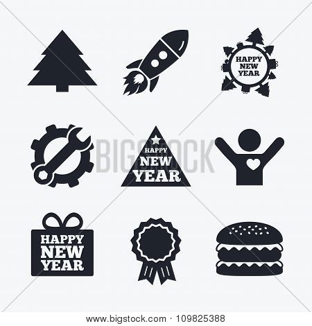 Happy new year sign. Christmas trees.