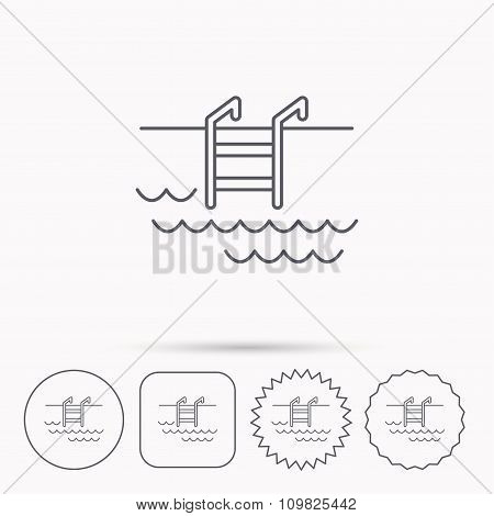 Swimming pool icon. Waves and stairs sign.