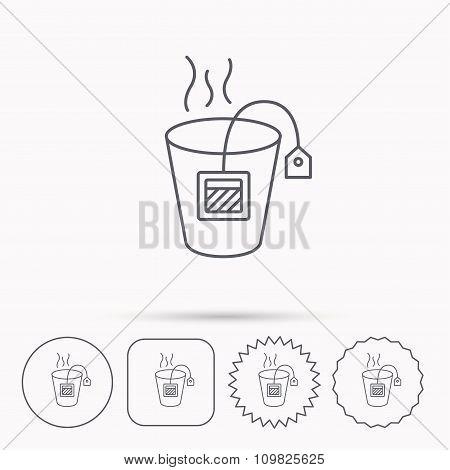 Tea bag icon. Natural hot drink sign.