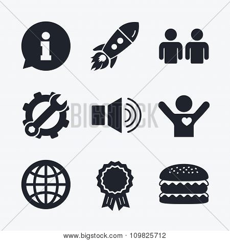 Information sign and group. Communication icons.
