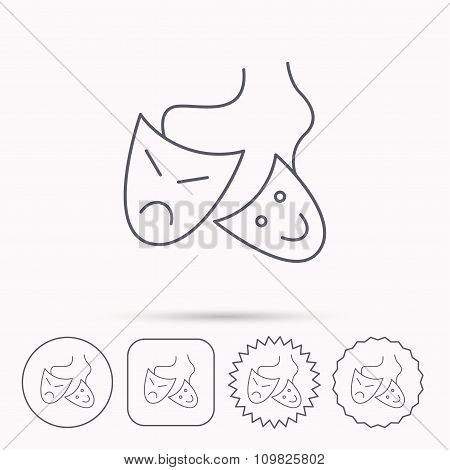 Theater masks icon. Drama and comedy sign.