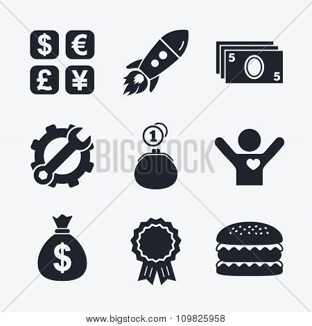 Currency exchange icon. Cash money bag, wallet.