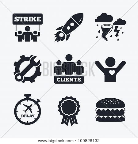Strike icon. Storm weather and group of people.