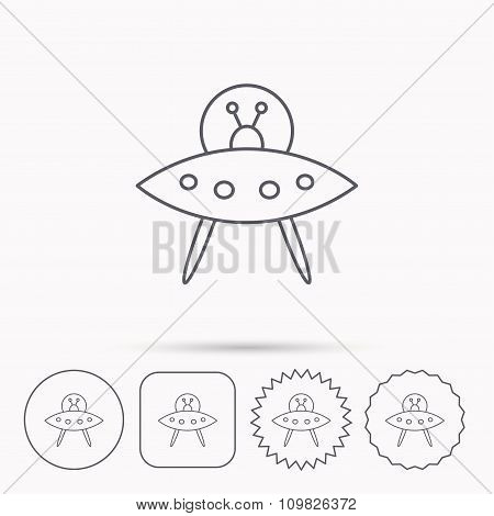 UFO icon. Unknown flying object sign.
