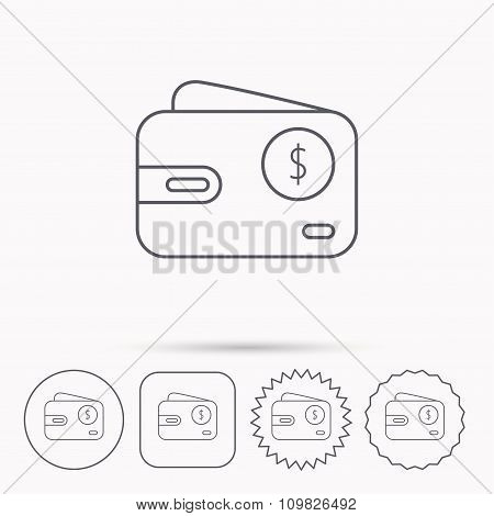 Dollar wallet icon. USD cash money bag sign.