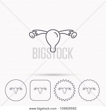 Uterus icon. Ovary sign.