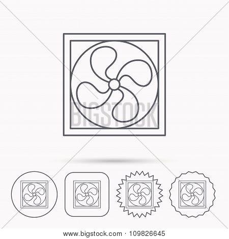 Ventilation icon. Fan or propeller sign.