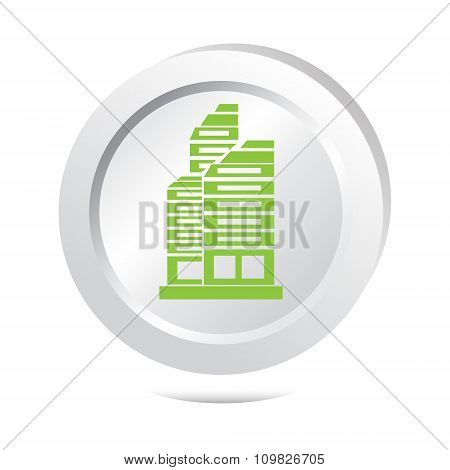 Office Building Button Icon Vector Illustration