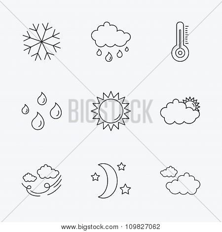 Weather, sun and rain icons. Moon night.