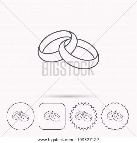 Wedding rings icon. Bride and groom jewelery.