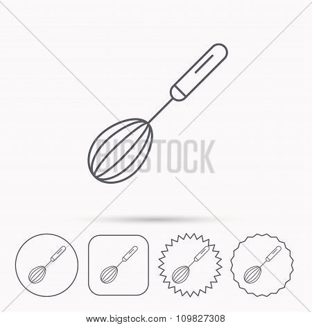 Whisk icon. Kitchen tool sign.