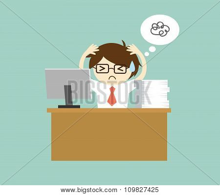 Business concept, Businessman feeling stressed and hard working. Vector illustration.