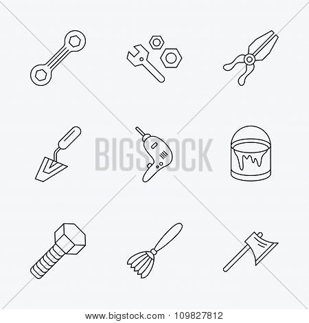 Spanner repair tool, spatula and bolt icons.